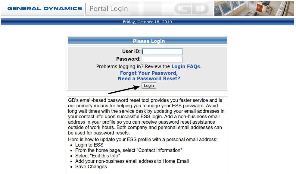 General Dynamics Enterprise System External Login