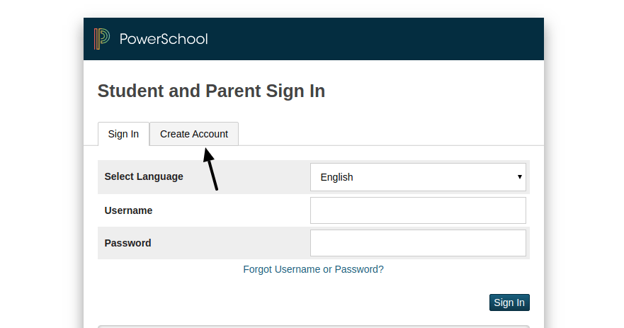Student and Parent Create Account