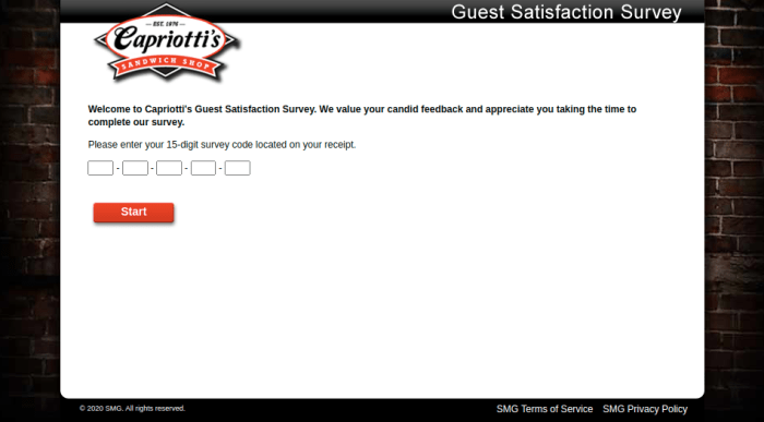 Capriottis Guest Satisfaction Survey