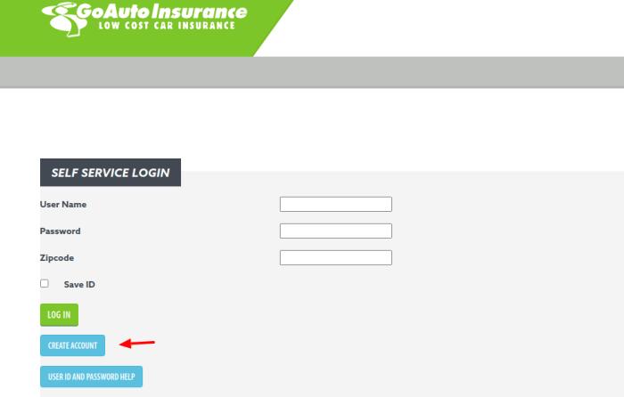 GoAuto Insurance Create Account