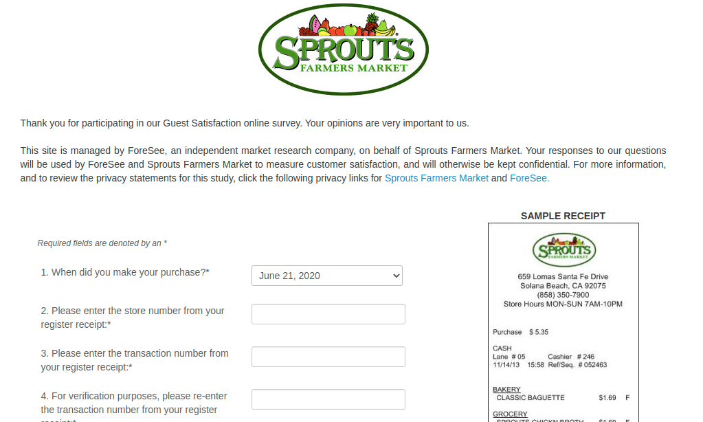 Sprouts Farmers Market Survey