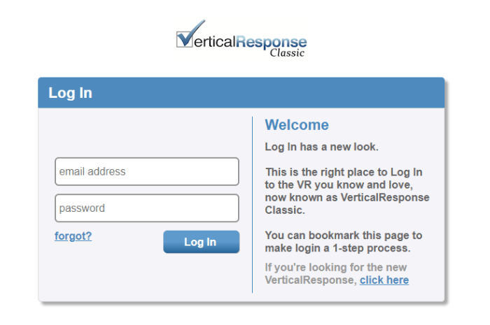 vertical response app login