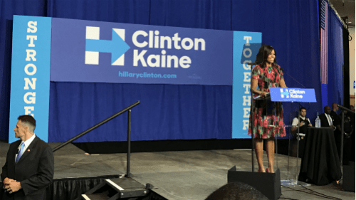 First Lady Michelle Obama speaking at Hillary Clinton Rally