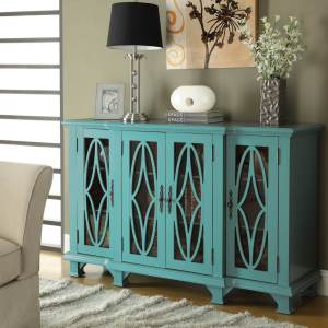 Large Teal Console Table with Glass Doors