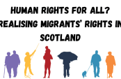 Silhouettes of people with words Human Rights for all? Realising Migrants' Rights in Scotland