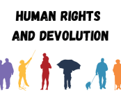 Silhouettes of different epople with words Human Rights and Devolution