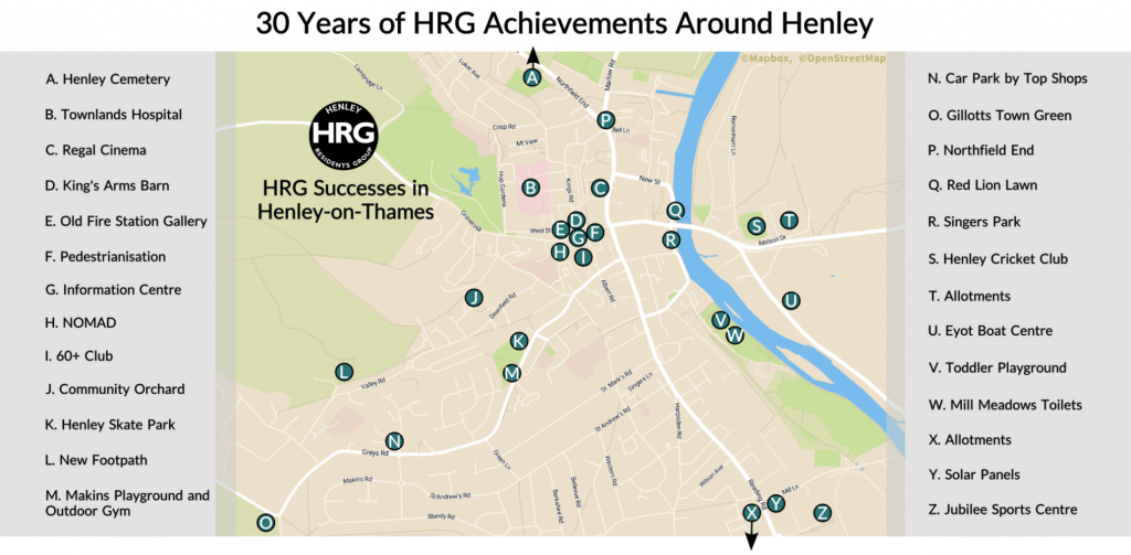 Map of Henley on Thames showing locations of HRG achievments over 30 years