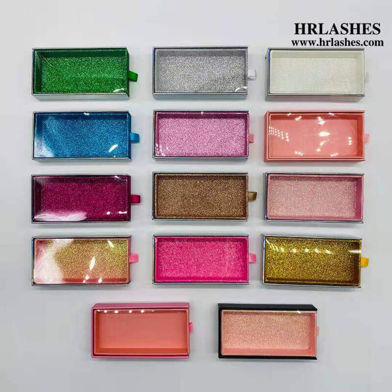 All kinds of colors glitter Holographic drawer Cardboard eyelash box With clear PVC Window 115x60x21 ,36.8g