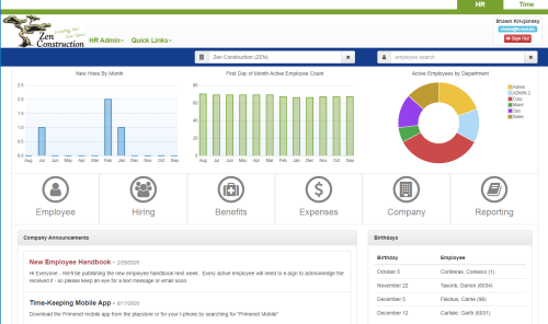 HRNext Direct Dashboard for HRIS