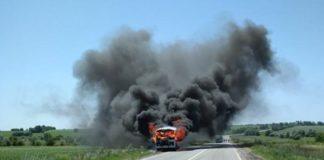 В Полтавской области во время движения загорелся автобус