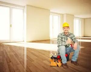 builder in empty office