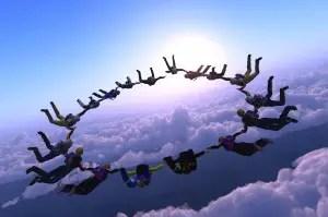 Team of skydivers