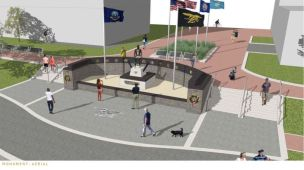 An artist rendering of what the monument will look like. (Photo courtesy Navy SEAL Museum)