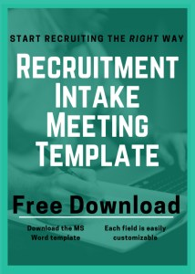 what to ask at a recruitment intake meeting downloadable template