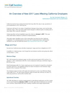 new california employment laws white paper