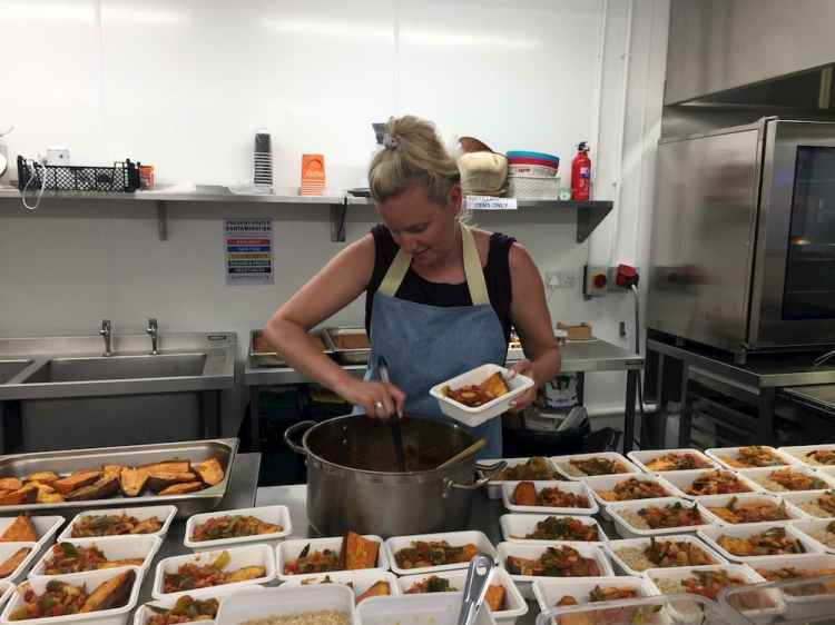 NFS - one of our chef volunteers hard at work in the kitchen