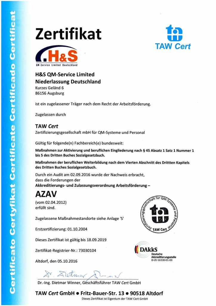 h+s zertifikat azav