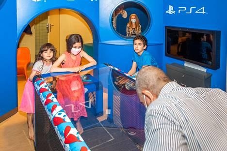 Jamel Cheffi and children Rim (left), Nour and Malek Cheffi enjoyed the ship's playground.