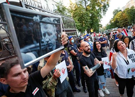 Activists took part in a demonstration in memory of Vital Shishou in Kiev on 3 August.
