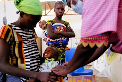 Children suffering from malnutrition were treated at a hospital in Kaya, Burkina Faso.  The family had fled armed groups.