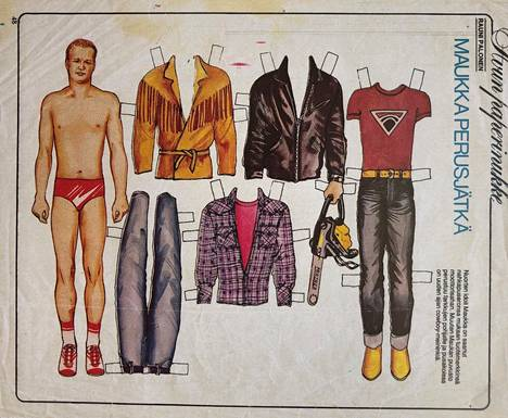 Maukka Perusjätkä's biggest hits are the song Clothes, released in 1980.  In August of the same year, Maukka Perusjätkä became the paper doll of the popular Apu magazine.