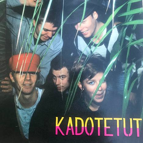 """Kimmo Helistö played the saxophone in the band Kadotetut, whose second album Too Big Mouth was released in the spring of 1985 - just before he started working on the new Radio City. """"We did quite a bit of gigs at the time and we were really in good shape"""", remembers the Ringing in the middle of the cover.  Ari also played in the lost """"Fage"""" Fagerström (top left), Henrik Duncker, Ahti Pelttari and Sanna Salmenkallio."""