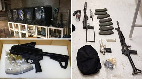 In Finland, a workshop was found in Tampere in a joint operation, where parts of weapons were manufactured using 3D printing.  In addition, functional submachine guns were found in a soundproofed space.  Pictured on the right are firearms seized in connection with a 145-pound cannabis seizure.