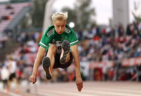 Kasperi Vehmaa, 16, is the youngest athlete to win the Finnish long jump championship.