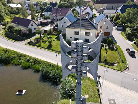 In the state of Thuringia in Rückersdorf, there is a warning siren at the premises of the voluntary fire brigade.