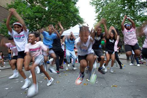 Juneteenth was also celebrated in Harlem, New York with street dances.