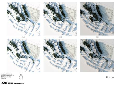 In a shading study commissioned by the city, the shadows of the trees look as opaque as the shadows of the buildings.  The top row shows the current situation and the bottom row the effect of new houses in the August evening hours.