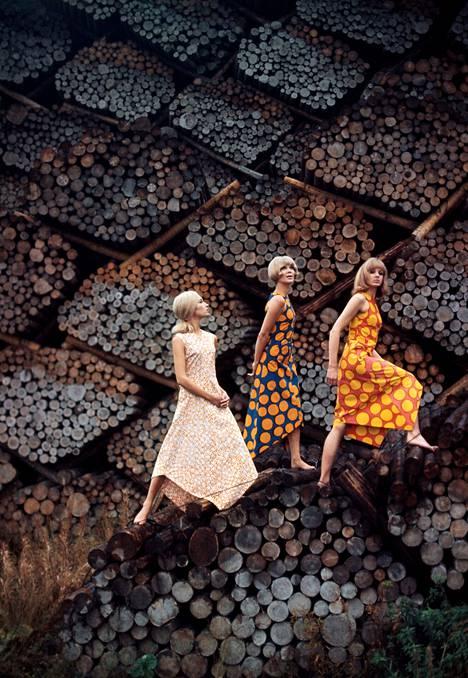 Tony Vaccaro: Marimekko logs, Helsinki, Finland, 1965.