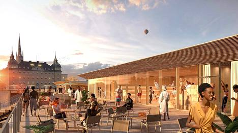The Stockholm Pool project rises next to Gamla Stan.  An illustration of the Pool project planned for Stockholm.