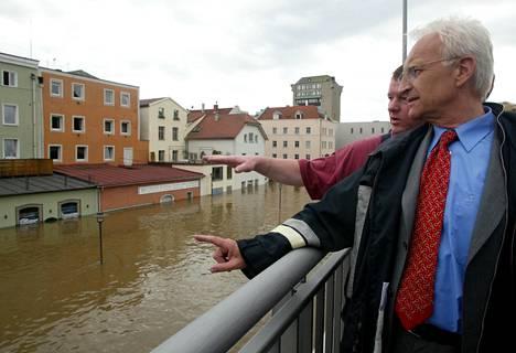 Chancellor Edmund Stoiber in Passau, Bavaria, in August 2002.