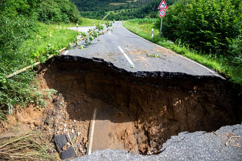 Destroyed road between the municipalities of Insul and Schuld in Germany.