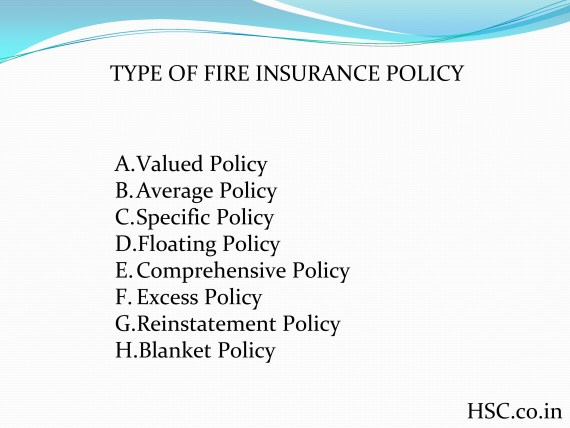 types of fire insurance