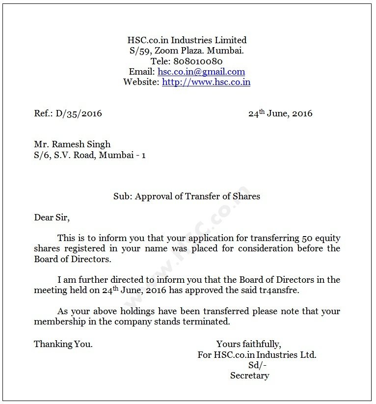 Request Letter For Transfer Of Shares