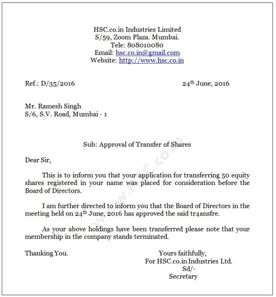 letter of approval of shares