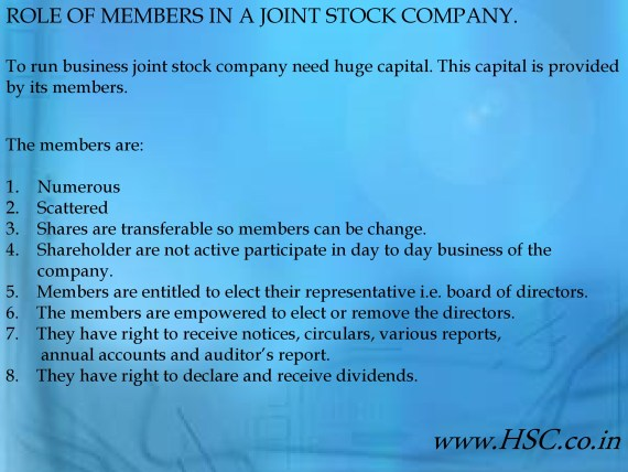 role of members om a joint stock company