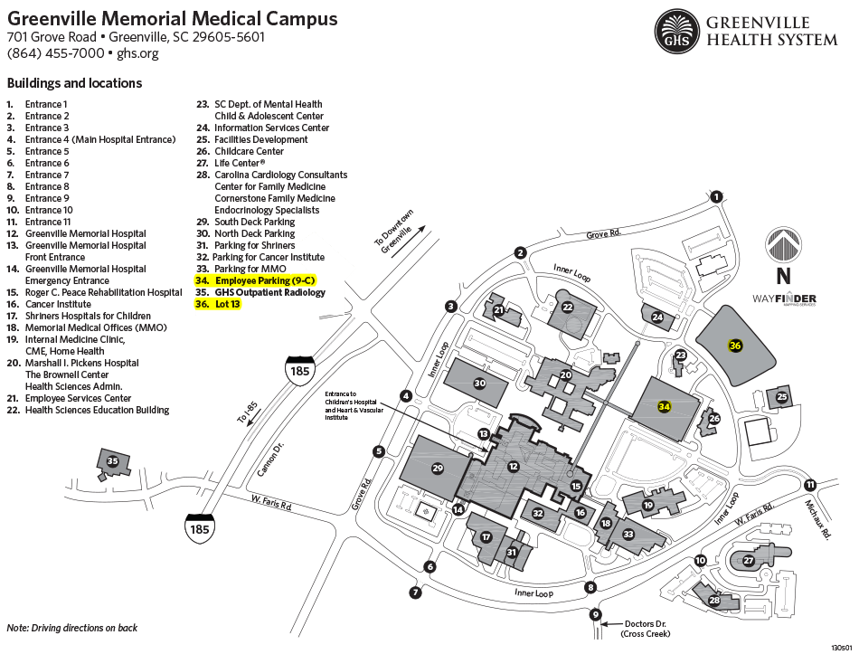 Health Sciences Center map-greenville-memorial-medical