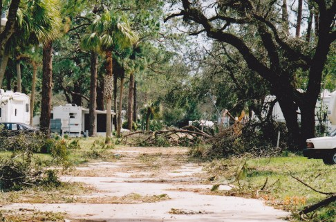 Photo by HS. Cooper © Aftermath of Hurricane Jean at the RV Resort 2004