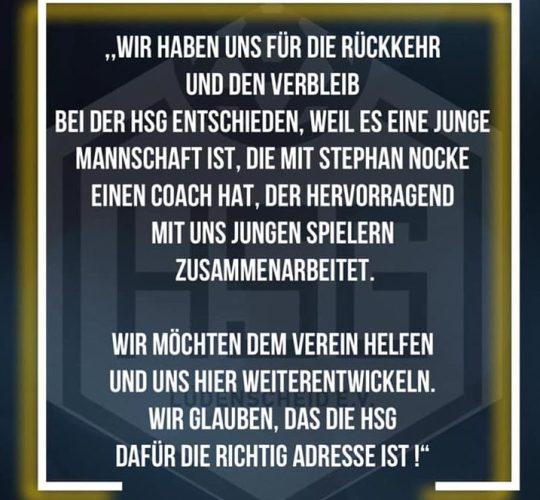 Marcel Plischka und Justin Jung geben der HSG die Zusage