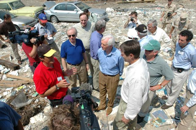 Former Chairman Lieberman tours the damage following Hurricane Katrina