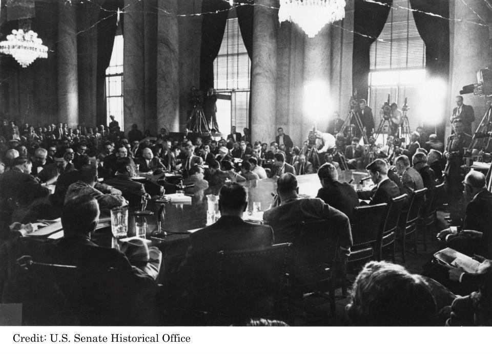 The Permanent Subcommittee on Investigations meets in 1957
