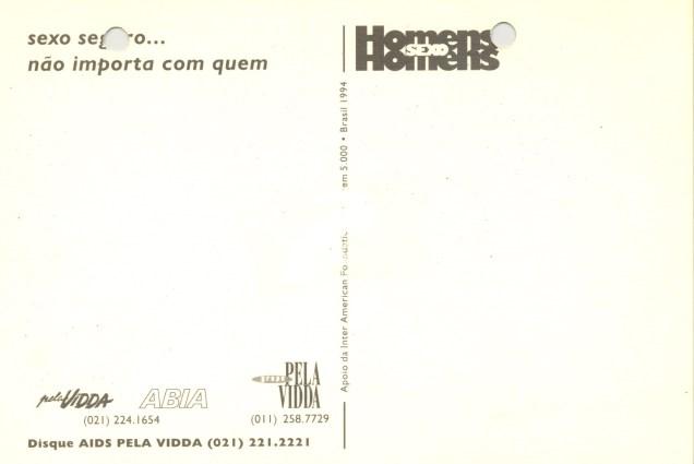 Verso dos diversos modelos de cartões postais idealizados pelo projeto HSH durante o ano de 1994.