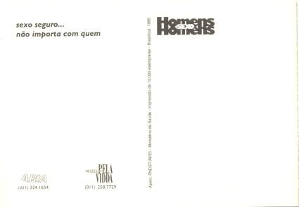 CARTÃO POSTAL - SILÊNCIO=MORTE - 1995 - VERSO