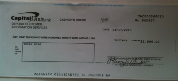 Capital One Bank Cashier's Check