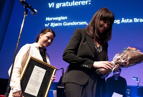 Representanter for Norwegian under prisutdelingen på HSMAI-prisfesten. Fotograf: Catharina Wandrup/Knut Joner