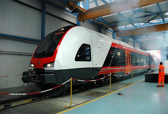 NSBs nye FLIRT-tog på verkstedet i Sveits. Fotograf: Åge Christoffer Lundeby/NSB.