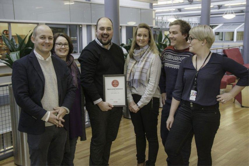Kommunikasjonsavdelingen ved Oslo Lufthavn jubler for tredje seier på rad. (Foto: Mynewsdesk)